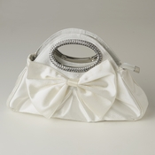 Cream Satin Evening Bag 311 with Rhinestone Accented Handles