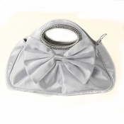 Silver Satin Evening Bag 311 with Rhinestone Accented Handles