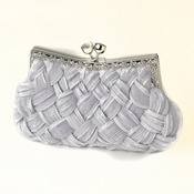 Silver Satin Weave Evening Bag 312 with Crystal Frame