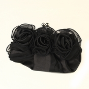 Black Satin Flower Evening Bag 313