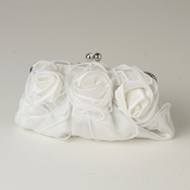 White Satin Flower Evening Bag 313