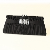 Black Satin Crystal Evening Bag 314