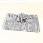Silver Satin Crystal Evening Bag 314