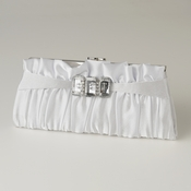 White Satin Crystal Evening Bag 314
