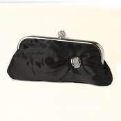 Black Satin Crystal Evening Bag 315