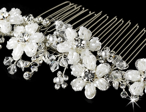Silver Crystal Hair Comb 037