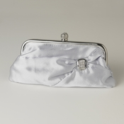 Silver Satin Crystal Evening Bag 315