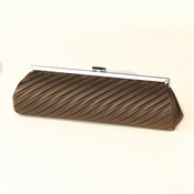 Brown Pleated Satin Evening Bag 319