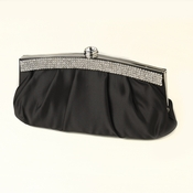 Black Satin Evening Bag 322 with Crystal Trim Accent & Closure, Silver Shoulder Strap