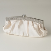 Champagne Satin Evening Bag 322 with Crystal Trim Accent & Closure, Silver Shoulder Strap***Discontinued***