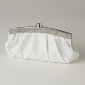 Cream Satin Evening Bag 322 with Crystal Trim Accent & Closure, Silver Shoulder Strap