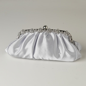 Silver Satin Evening Bag 324 with Silver Frame & Silver Shoulder Strap