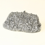 Silver Sequin Evening Bag 325 with Silver Frame & Shoulder Strap***Discontinued***