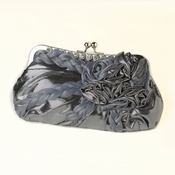 * Grey Braided Ruffle Floral Rhinestone Evening Bag 328***Discontinued***