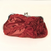 * Red Braided Ruffle Floral Rhinestone Evening Bag 328