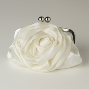 Cream Floral Rose Evening Bag 329 with Silver Frame & Shoulder Strap