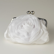 White Floral Rose Evening Bag 329 with Silver Frame & Shoulder Strap