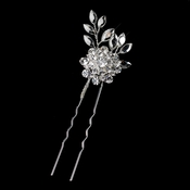 Silver Clear Rhinestone Flower Pin 10347