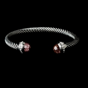 Designer Inspired Silver Cable Bangle Bracelet w/ Pink Crystal Stones 5007