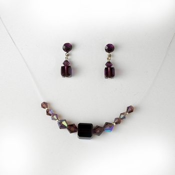 Amethyst / AB Illusion Necklace & Earring Set NE 233