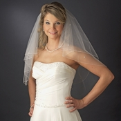 Double Tier Elblow Length Veil with Swarovski & Pearl Flower Accents & Pencil Edge V 5000 E