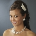 Sweet Ivory Floral Bridal Comb w/ Freshwater Pearls & Clear Rhinestones 8278