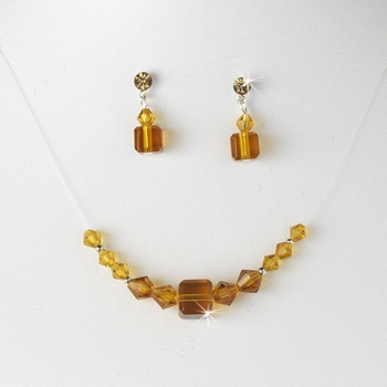 Tan Crystal Illusion Necklace & Earring Set NE 233