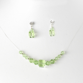 Green Illusion Necklace & Earring Set NE 233