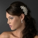 Delightful Silver Floral Bridal Comb w/ Clear Rhinestones & Ivory Freshwater Pearls 9814