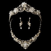 Gold Freshwater Pearl, Swarovski Crystal Bead and Rhinestone Tiara Headpiece 2596 & Jewelry Set 7825