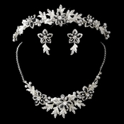 Silver Black Accent Floral Tiara Headpiece 8100 & Jewelry Set 8100 with White Pearl and Rhinestone