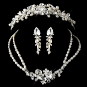 Silver Freshwater Pearl, Swarovski Crystal Bead and Rhinestone Tiara Headpiece 8236 & Jewelry Set 8238