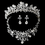 Silver Clear Swarovski Crystal Bead and Rhinestone Tiara Headpiece 9786 & Jewelry Set 9786