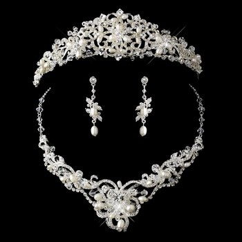 Silver Freshwater Pearl, Swarovski Crystal Bead and Rhinestone Tiara  Headpiece 1810 & Jewelry Set 7825