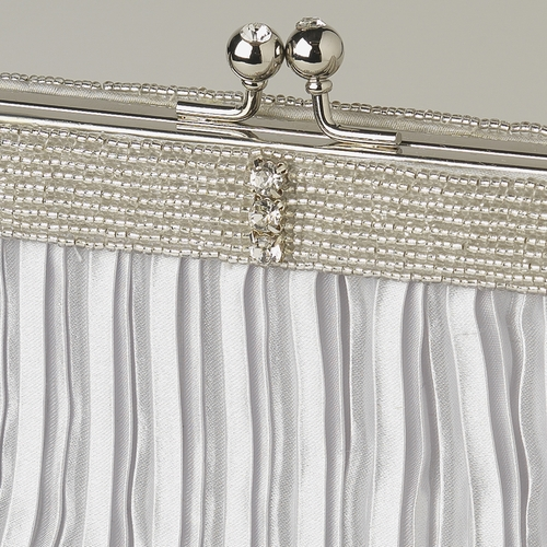 Silver Satin Beaded Rhinestone Bridal Evening Bag 304