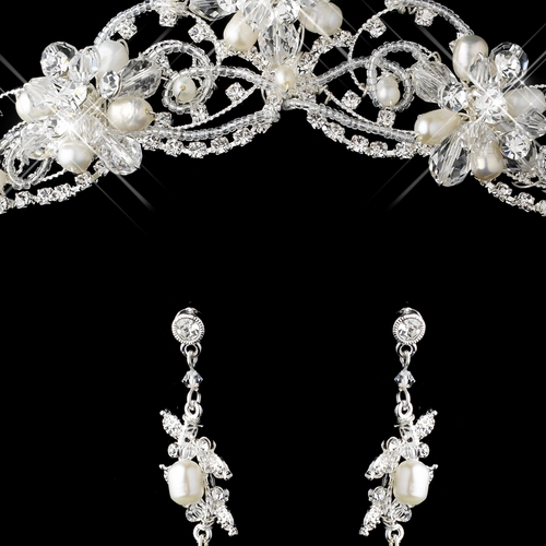 Silver Freshwater Pearl, Swarovski Crystal Bead and Rhinestone Tiara Headpiece 2596 & Jewelry Set 7825