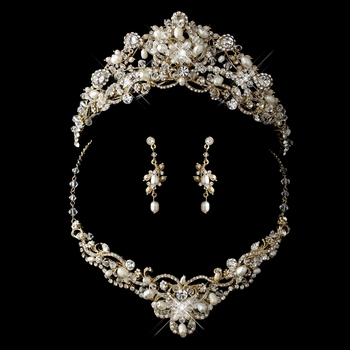 Gold Freshwater Pearl, Swarovski Crystal Bead and Rhinestone Tiara Headpiece 7825 & Jewelry Set 7825
