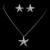 Antique Silver Rhodium Clear CZ Pave Starfish Necklace & Earrings Set 6340