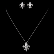 Solid 925 Sterling Silver Clear CZ Crystal Fleur De Lis Necklace & Earrings Jewelry Set 9991