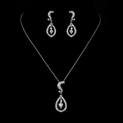 Silver Clear CZ Crystal Necklace & Earrings 9254