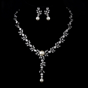 Silver Ivory Pearl & Clear CZ Crystal Necklace & Earrings 9955***Discontinued***