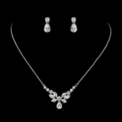 Silver Clear CZ Crystal Floral Drop Earrings***Necklace Discontinued**Price is For Earrings Only***
