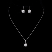 Antique Silver Clear CZ Princess Cut Necklace 9251 & Earrings 9248