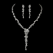 Antique Silver Clear Multi Cut CZ Stone Necklace & Earrings 8654