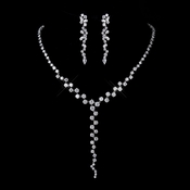 Antique Silver Clear CZ Multi Cut Stone Necklace 8649 & Earrings 8654 Bridal Jewelry Set