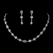 Antique Silver Clear CZ Crystal Necklace 8650 & Earrings 8650 Bridal Jewelry Set