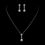 Silver Clear CZ Crystal Chain Link Necklace & Earrings Bridal Jewelry Set 8759