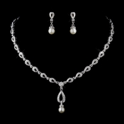 Silver Ivory Drop Pearl and Clear CZ Stone Necklace & Earrings Bridal Jewelry Set 8763