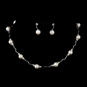 Silver Ivory Pearl and CZ Crystal Necklace & Earrings Bridal Jewelry Set 8764***Discontinued***