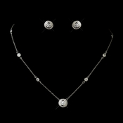 Antique Silver Clear CZ Stone Necklace 8112 and Earrings 8118 Bridal Jewelry Set